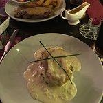 Chicken Ballantine and sirloin steak with peppercorn sauce
