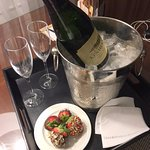 Complimentary champagne and chocolate covered strawberries