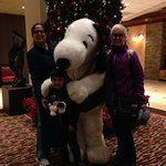 Snoopy is so cute, he walks around the restaurant and lobby area.