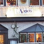 Vaso's street front with holiday lights