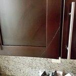 Cracked cabinet door.