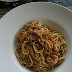 Linguini with shrimp.