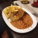 cornish pasty chips and beans with gravy