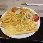 cheese & ham omlette, chips and salad