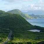 This view is obtained by walking or or driving up the nearby hill by the resort. Nevis in the di