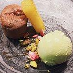 Chocolate fondant Manjari 64%, pineapple and pistachio ice cream from new winter menu 2017
