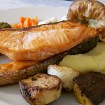 Salmon sunday lunch - incl stuffing & yorkie