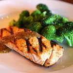 Atlantic Salmon with Mustard Dill Sauce and Steamed Broccoli