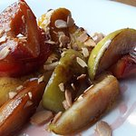 Roasted Fruits with Rose Syrup & Toasted Almonds