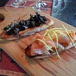 The mushroom and salmon bruschetta