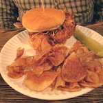 Pickle Brined Fried Chicken Sandwich with Housemade Chips