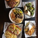 These pictures show their Turkey Wrap, Mediterranean Platter, Gyro and Fries, Bacon Cheeseburger