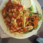 Cracked Conch with fries and salad