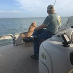My hubby watching the dolphin-finder's directions!