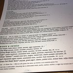 Detailed food menu