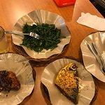 Kangkong, ikan bakar, ayam bakar, ginger tea