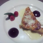 White Chocolate Bread Pudding with raspberry puree