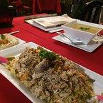 Soup, hummus and rice dish