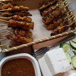 Satay with rice and satay sauce