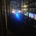 The view over Toulouse Street and down to Bourbon Street from our balcony