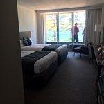 2 queen beds, ocean view room. Basic but comfortable.
