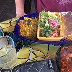Mahi fajitas ,yellow rice,comes with lettuce, pico, shred cheese,and flour tortillas.