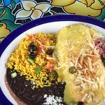 Pepperjack cheesesteak chimi. With yellow rice,black beans.