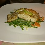 """""""Green fish"""" made in coconut sauce with snake bean and carrot strir fry, highly recommended"""