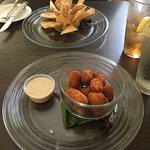 Corn nuggets (!) and the sweet potato hummus
