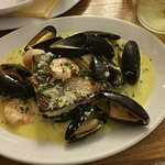 Sea Bass with king prawns & mussels