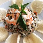 Shrimp on papaya salad