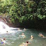 Swimming in falls at Rainmaker