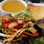 Butternut Squash Soup, Sandwich and Salad