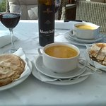 Vegetable soup and traditional garlic bread all washed down with our favourite red