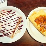 The raspberry ricotta crepe & the caramel creme brulee YUMM
