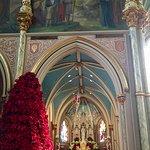 "Interior of the church, poinsetta ""tree"""