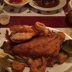 Tasty calamari and seafood platter.