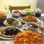 HOSUM SALAD, Lettuce Wraps, BBQ Pork, Kung Pao Noodles & Cilantro Dumplings so good!