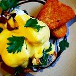 Pub's Chorizo & Feta Eggs Benedict available for Brunch through till 4pm
