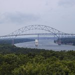Distant view of the Bourne Bridge on the Cape Cod Canal
