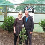 The tree presented to me for my birthday by my husband, Donna, and Stew and planted on their far