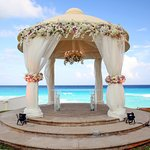 Outdoor gazebo, decorated for a wedding.