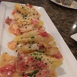 stuffed shells with lobster sauce and 6 shrimp