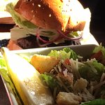 Burger & Caesar Salad