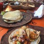 Salsas, shrimp tacos beans
