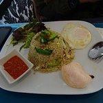 Kampung fried rice served with sambal belacan