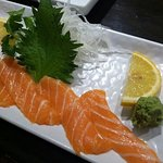 Toshi's perfect salmon sashimi.