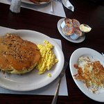 Peacan buttermilk pancakes with Scrabble eggs and hash browns