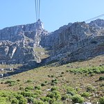 Approaching the top of Table Mountain from a cableway car