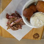 Pulled pork and Hush Puppies